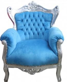 Casa Padrino Barock Kinder Sessel Türkis-Blau/Silber - Möbel Antik Stil