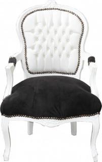 Casa Padrino Barock Salon Stuhl Weiß / Schwarz Mod2 Bling Bling