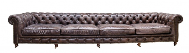 Casa Padrino Luxus 6er Sofa Braun 410 x 120 x H. 77 cm - Chesterfield Möbel