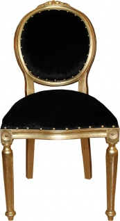 Casa Padrino Barock Medaillon Luxus Esszimmer Stuhl ohne Armlehnen in Schwarz / Gold - Limited Edition - Vorschau 1