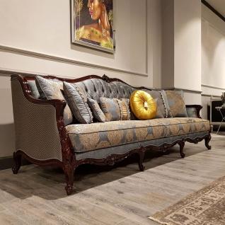 Casa Padrino Luxus Barock Sofa Silber / Beige / Dunkelbraun - Prunkvolles Wohnzimmer Sofa mit elegantem Muster - Barock Möbel - Vorschau 2