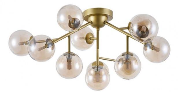 Casa Padrino Wohnzimmer Deckenleuchte Gold / Bernsteinfarben Ø 60 x H. 20 cm - Deckenlampe mit kugelförmigen Lampenschirmen
