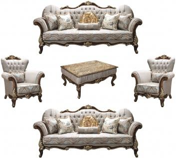 Casa Padrino Luxus Barock Wohnzimmer Set Silbergrau / Braun / Gold - 2 Sofas & 2 Sessel & 1 Couchtisch - Wohnzimmer Möbel - Edel & Prunkvoll