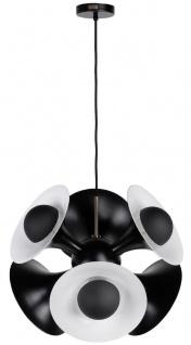 Casa Padrino Luxus Hängeleuchte Schwarz / Weiß 55 x 55 x H. 53 cm - Aluminium Pendelleuchte - Wohnzimmer Lampe - Luxus Kollektion