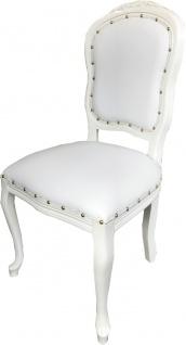 Casa Padrino Barock Luxus Esszimmer Stuhl Weiß Kunstleder / Weiß Mod Antibes - Handgefertigte Möbel - Vorschau 2