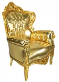Casa Padrino Sessel King Gold Lederoptik mit Bling Bling Glitzersteinen - Luxus Barock Möbel