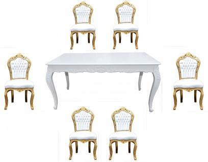 Casa Padrino Barock Esszimmer Set Weiß/Gold - Esstisch + 6 Stühle ohne Armlehnen