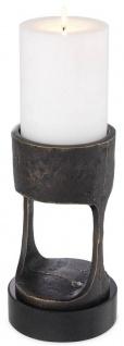 Casa Padrino Luxus Kerzenhalter Bronzefarben / Schwarz Ø 13 x H. 24 cm - Messing Kerzenständer mit Granitsockel - Deko Accessoires