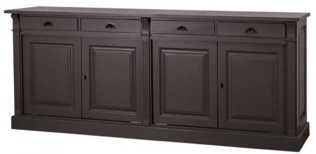 Casa Padrino Landhausstil Küchenschrank mit 4 Türen und 4 Schubladen Schwarz 219 x 51 x H. 90 cm - Massivholz Schrank - Landhausstil Möbel