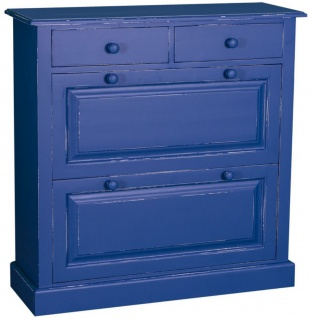 Casa Padrino Landhausstil Massivholz Schuhschrank Antik Blau 103 x 35 x H. 105 cm - Landhausstil Garderobenmöbel