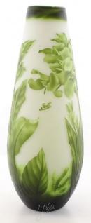 Casa Padrino Luxus Glas Deko Vase Blumen Grün / Weiß Ø 18, 5 x H. 49, 2 cm - Cameoglas Blumenvase
