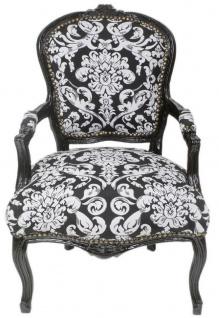 Casa Padrino Barock Salon Stuhl mit Armlehnen und elegantem Muster Schwarz / Weiß 60 x 60 x H. 95 cm - Handgefertigter Antik Stil Stuhl - Möbel im Barockstil
