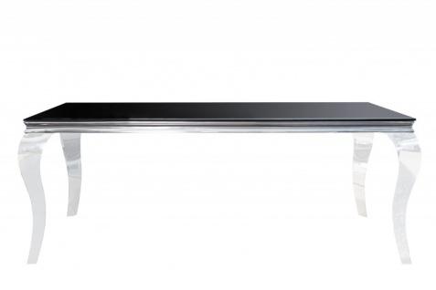Casa Padrino Designer Esstisch 180 cm Schwarz / Silber - Modern Barock