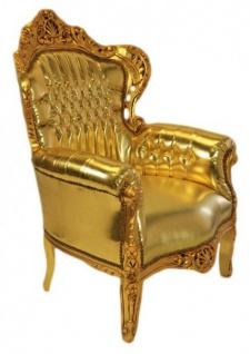 Casa Padrino Barock Sessel King Gold Lederoptik mit Glitzersteinen 85 x 85 x H. 120 cm