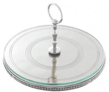 Casa Padrino Luxus Kuchen Servierplatte mit Tragegriff Silber Ø 29 x H. 18, 5 cm - Luxus Etagere 1-Stufig - Vorschau 2