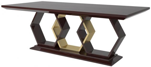 Casa Padrino Designer Esstisch Dunkelbraun Hochglanz / Gold 220 x 110 x H. 77 cm - Edler Rechteckiger Massivholz Küchentisch - Luxus Qualität