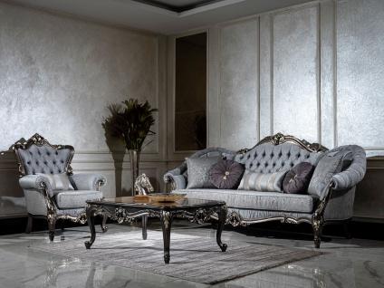 Casa Padrino Luxus Barock Wohnzimmer Set Hellblau / Grau / Dunkelgrau / Gold - 2 Sofas & 2 Sessel & 1 Couchtisch - Handgefertigte Wohnzimmer Möbel im Barockstil - Edel & Prunkvoll