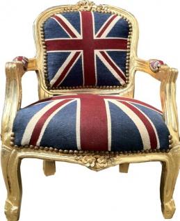Barock Kinder Stuhl Union Jack/Gold- Armlehnstuhl