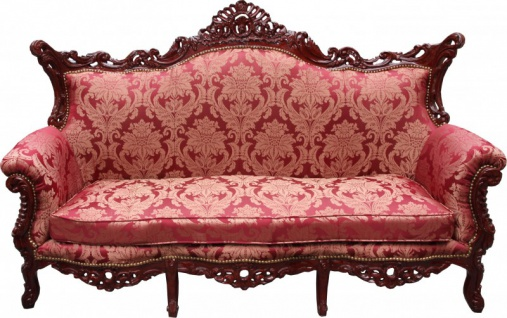 Casa Padrino Barock Wohnzimmer Set Bordeaux Muster / Braunrot - 3-er Sofa + 2-er Sofa + 1 Sessel - Barock Möbel - Vorschau 2