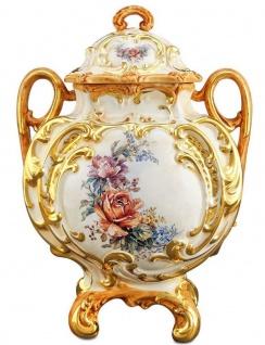 Casa Padrino Barock Keramik Vase mit Deckel und 2 Tragegriffen Weiß / Gold / Mehrfarbig Ø 12 x H. 34 cm - Blumenvase im Barockstil