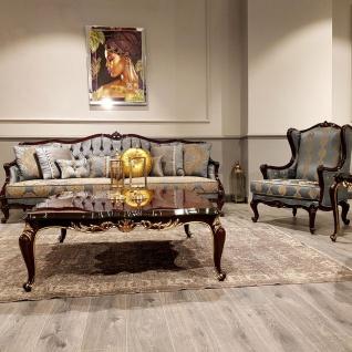 Casa Padrino Luxus Barock Sofa Silber / Beige / Dunkelbraun - Prunkvolles Wohnzimmer Sofa mit elegantem Muster - Barock Möbel - Vorschau 4