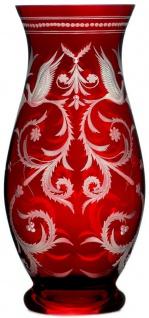 Casa Padrino Luxus Deko Glas Vase Rot / Silber Ø 14 x H. 30 cm - Handgefertigte und handgravierte Blumenvase - Hotel & Restaurant Accessoires - Luxus Qualität
