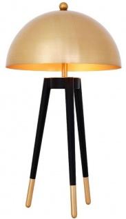 Casa Padrino Luxus Tischleuchte Gold / Schwarz Ø 38, 5 x H. 69 cm - Moderne Dreibein Tischlampe mit rundem Metall Lampenschirm