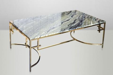 Casa Padrino Art Deco Couchtisch Gold Metall / Marmor 130 x 70 cm- Jugendstil Tisch - Möbel Wohnzimmer - Vorschau 4