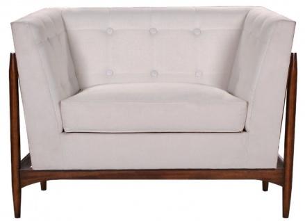 Casa Padrino Luxus Art Deco Lounge Salon Sessel Weiß / Dunkelbraun 113 x 78 x H. 83 cm - Art Deco Wohnzimmer Möbel - Luxus Qualität