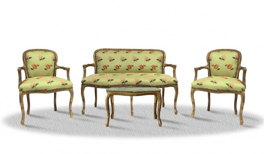 Casa Padrino Barock Salon Set Vintage Gold Hellgrün - Antik Stil