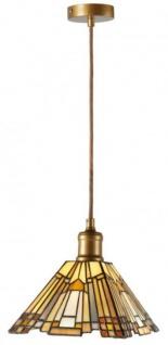 Casa Padrino Tiffany Hängeleuchte Mehrfarbig / Gold 21 x 21 x H. 125 cm - Handgefertigte Wohnzimmer Pendelleuchte