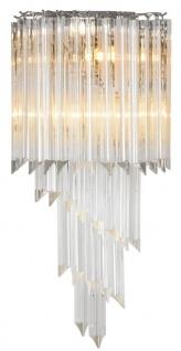 Casa Padrino Luxus Glas Wandleuchte Silber / klares Glas 30 x 14, 5 x H. 64, 5 cm - Wohnzimmer Leuchte - Luxus Qualität