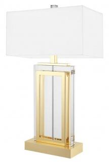 Casa Padrino Luxus Tischleuchte Gold / Weiß 38 x H. 67, 5 cm - Hotel & Restaurant Möbel