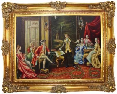 Casa Padrino Barock Ölgemälde Der Vortrag Mehrfarbig / Gold 160 x 10 x H. 130 cm - Handgemaltes Gemälde mit prunkvollem Rahmen im Barockstil - Barockstil Deko