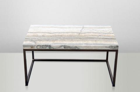 Casa Padrino Art Deco Beistelltisch Onyx / Metall 80 x 50 cm- Jugendstil Tisch - Möbel Couchtisch