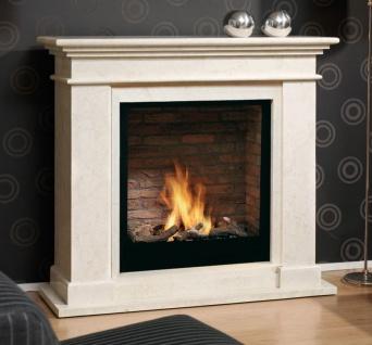 Casa Padrino Luxus Jugendstil Kamin mit Biobrenner und Glasscheibe Cremeweiß 119 x 39 x H. 108 cm - Luxus Ethanolkamin