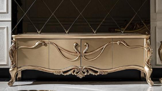 Casa Padrino Luxus Barock TV Schrank Weiß / Gold - Prunkvolles Wohnzimmer Sideboard mit 4 Türen - Barock Wohnzimmer Möbel