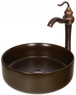 Casa Padrino Jugendstil Waschtisch Set Ø 36 x H. 37, 2 cm - Retro Einhebel Wasserhahn mit antiker Marmoroberfläche und elegantem runden Waschbecken - Rustikales Bad Zubehör