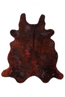Casa Padrino Designer Kuhfell Teppich Vintage Look Rot - Handgefertigt - Möbel Fell Teppich
