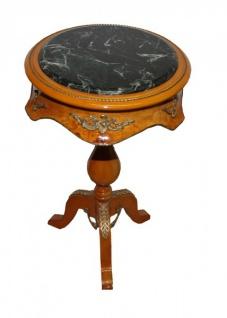 Barock Beistelltisch Modell Mahagoni Hellbraun mit Marmorplatte 70 x 42 cm