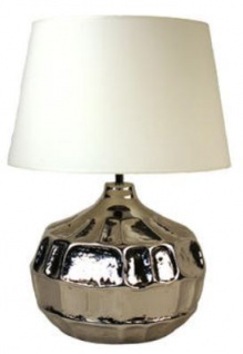Casa Padrino Aluminium Tischleuchte Silber / Weiß Ø 45 x H. 60 cm - Luxus Tischlampe