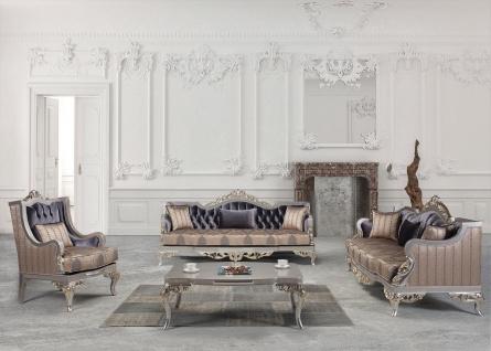 Casa Padrino Luxus Barock Wohnzimmer Set Lila / Beige / Silber / Gold - 2 Sofas & 2 Sessel & 1 Couchtisch - Wohnzimmer Möbel im Barockstil - Edel & Prunkvoll