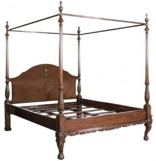 Casa Padrino Luxus Barock Doppelbett Dunkelbraun - Handgefertigtes Massivholz Bett - Schlafzimmer Möbel im Barockstil - Edel & Prunkvoll