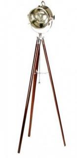 Industrial Studioleuchte Marine II Vintage Lampe Stehleuchte Braun / Zinn Look - Pewter Brass Finish - Luxus Qualität