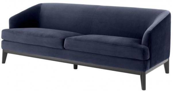 Casa Padrino Luxus Wohnzimmer Sofa Mitternachtsblau / Schwarz 195 x 90 x H. 75 cm - Luxus Möbel