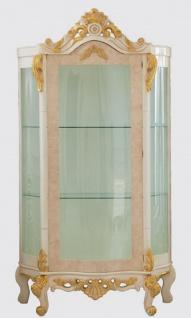 Casa Padrino Luxus Barock Vitrine Beige / Weiß / Gold - Handgefertigter Massivholz Vitrinenschrank - Barock Wohnzimmer Möbel