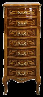 Casa Padrino Barock Kommode mit 7 Schubladen Vogelaugen Ahorn mit Intarsien - Barock Möbel