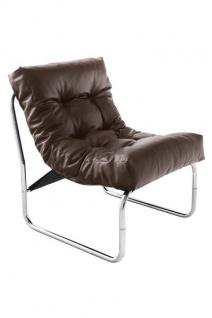 Designer Salon Stuhl Braun Lederoptik, sehr komfortabler Sitz, moderner Wohnzimmerstuhl