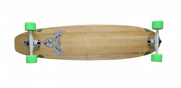 Flying Wheels Longboard Bambus Kicktail Komplettboard 110 x 25.5 cm Cruiser Carver - Special Edition mit Koston Kugellagern