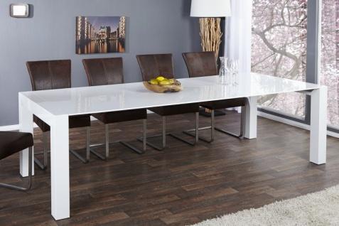 Moderner Design Esstisch Weiß Hochglanz - Extra Lang - Ausziehbar 180 - 220 - 260 cm von Casa Padrino - Esszimmer Tisch